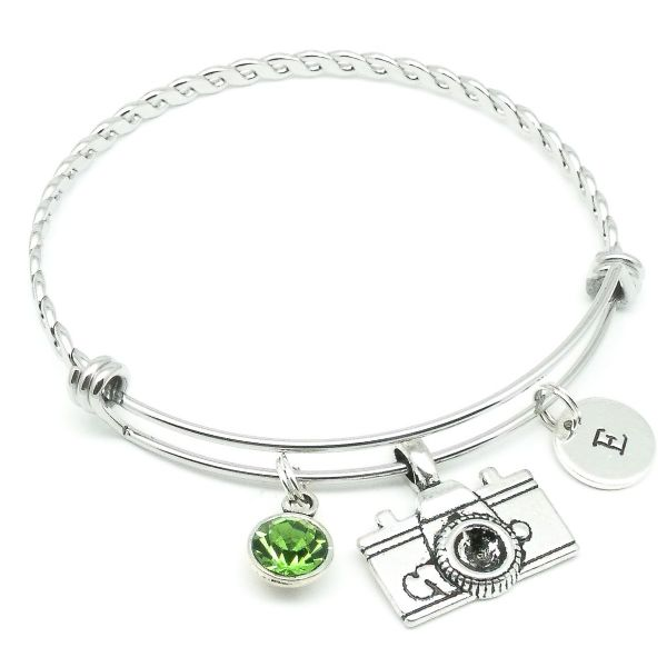 Camera bracelet gift personalised initial birthstone